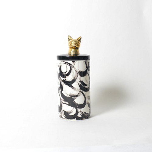 Painted Paws Cat Ceramic Canister