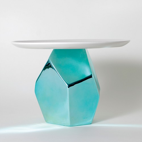 Candy Rock Blue Crystal Cake Plate