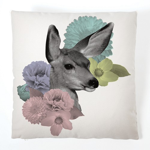 Pastel Pastiche Cushion - Doe & Flowers (With Insert)