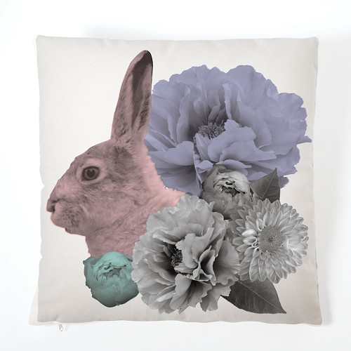 Pastel Pastiche Cushion - Rabbit & Flowers (With Insert)