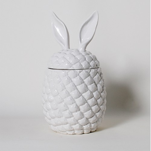 The Cha Cha Chas Pineapple Rabbit Ears Ceramic Canister