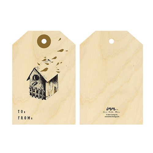 Woodwork Birdhouse Gift Tag